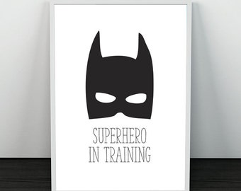 PRINTABLE Super Hero In Training  A4 BW PRINT