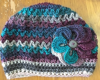 Crochet Slouchy Hat with Flower