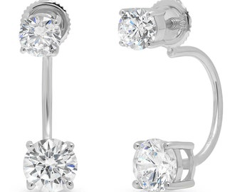 14k Drop Earrings, 14k Earrings, Drop Earrings, Earrings 14k, 3.2CT Dual Double Drop Round Cut Sim Solitaire Stud Earring Real White Gold