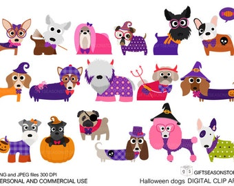 Halloween dogs digital clip art  for Personal and Commercial use - INSTANT DOWNLOAD