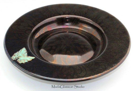Black Iridescent Footed Fused Glass Bowl