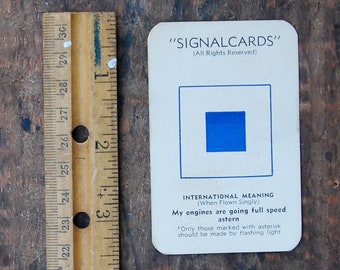 "Vintage Signal Card, WWII Era, Navy International Code Flag "" Sugar S """