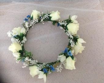 Faux flower wedding bridal bridesmaid crown headdress