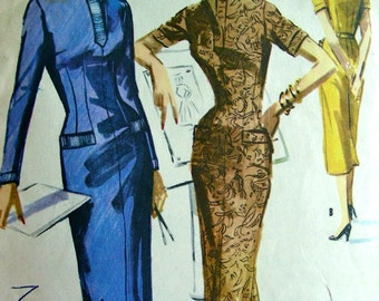 Vintage 50's McCall's Sewing Pattern 3463 - Slim Sheath Wiggle Dress Mitered Collar - size 16/34 - 'Easy to Sew'
