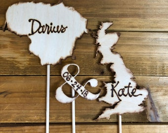 USA &/or International Wedding Cake Topper - Your country's shape - Long Distance Couples USA, Australia, Canada, Italy, Spain - ANY Country