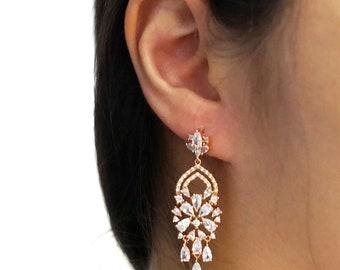 Rose Gold Wedding Bride Bridesmaid Gift Bridal Earrings Bracelet Jewelry Set Clear Cubic Zirconia Teardrop Earrings E336 B88