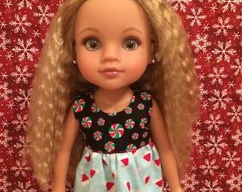 Reversible Christmas Shirt for 14inch Dolls- Santa Hats/Peppermints