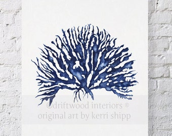 Sea Coral IV in Denim Blue Watercolor Print 11x14 - Blue Coral Art - Blue Sea Fan - Sea Life Art Print - Coral Art Print