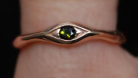 10k Rose Gold and Green Tourmaline Eye Ring