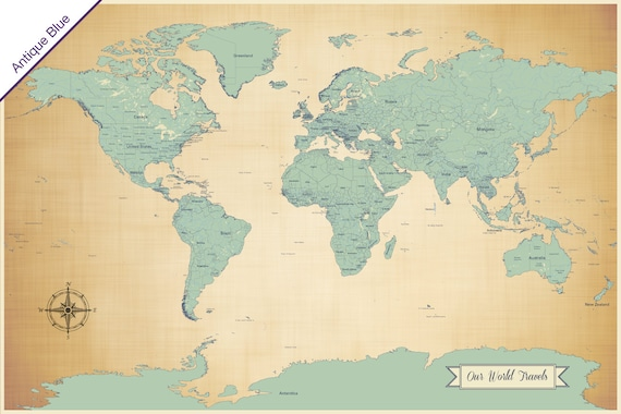 Sale push pin travel map world travels map map art world sale push pin travel map world travels map map art world map art print paper anniversary gift large map 24x36 inch antique blue gumiabroncs Images