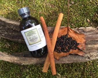 All Natural Organic Elderberry Syrup homemade organic elderberry ginger clove cinnamon with local raw honey for immune booster syrup flu