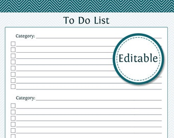 To Do List with Categories - Fillable - Productivity Printable - Printable PDF - Instant Download