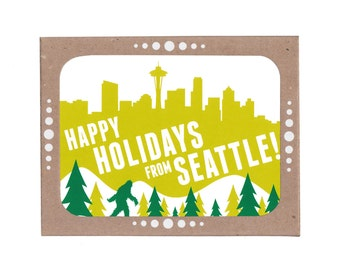 Boxed Set of Six Sasquatch and Seattle Skyline Holiday Cards