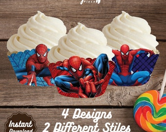 Spiderman Cupcake Wrappers, Spierman Printable Cupcake Wrap, Spiderman Birthday Party decoration, instant download, DIY, Superheroes