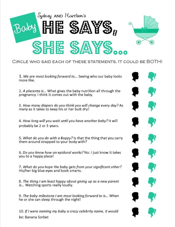 Items Similar To He Says, She Says   Unique Printable Baby Shower Game On  Etsy