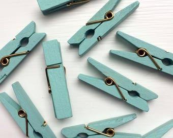 Aqua Mini Clothespins, Mini Colored Clothespins, 1 3/8 Inch Clothespins, Pretty Clothespins, 10 Count