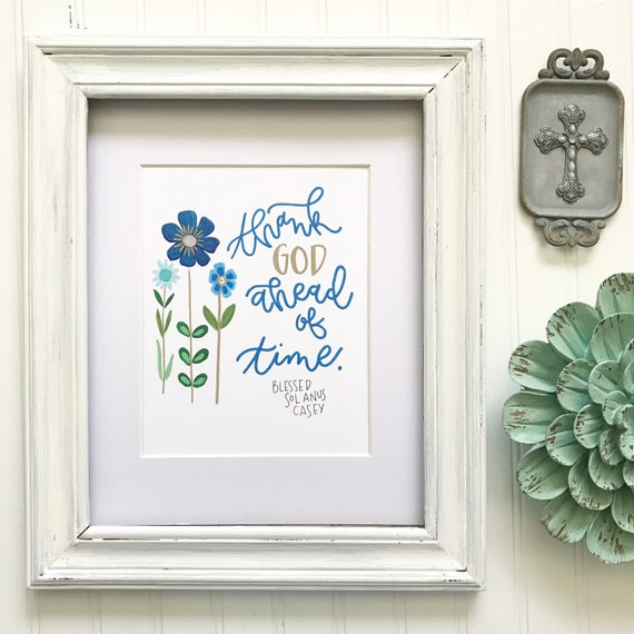 """Handlettered Illustrated Floral 8x10"""" Print * Catholic Christian Home Decor * Saint Quotes * Gifts for the Home"""