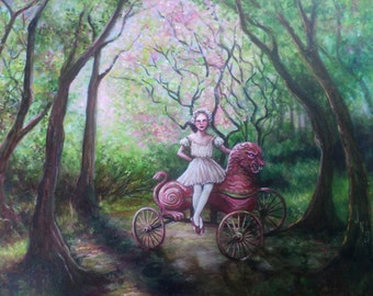 The Pink Lion, Original Painting, Spring, Forest, Pink Blossoms, Circus Wagon, Circus Performer, Pink Tutu, Fairy Tale, Folk Tale, Woods