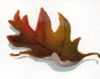 Original ACEO Painting of Autumn Leaf, Acrylic Painting, Minimalist Art for Home Decor