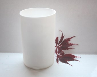 Cylindrical shaped vase made from English fine bone china - geometric decor