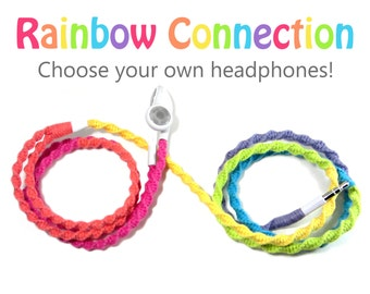 Rainbow Headphones - Custom Wrapped Tangle Resistant Earbuds - Unique Girl Teen Birthday Gift For Her iPhone 7, 8 Earpods Android Earphones