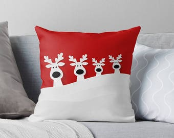 Christmas Decorations | Christmas Throw Pillow | Christmas Pillow | Christmas Decor | Christmas Cushion | Reindeer Pillow | Festive Pillow