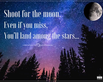 Shoot for the Moon Poster Wall Decor Inspirational Quote Art Print
