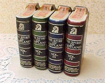 Charming Vintage Set of Book Shaped Scotch Bottles by Rutherford & Co