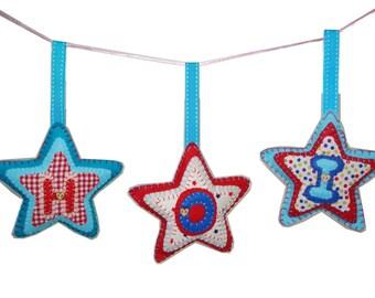 Personalised baby child Gift Hanging Decoration Felt star UK seller