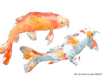 Koi painting, Original Painting, koi watercolor, Original Watercolor, 14 x 20 inches, wildlife painting, garden painting, fish painting