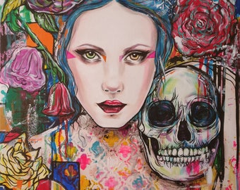Rescue and Restore- 12x16 Fine Art Print Woman with Skull and Flowers Lowbrow art graffitti new contemporary tattoo wall art