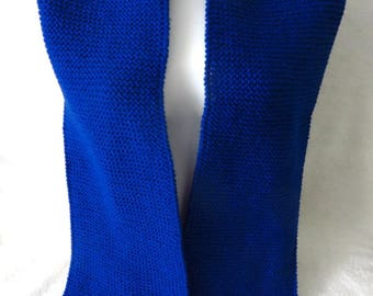 Royal Blue Knitted Scarf, Blue Knit Scarf, Plain Blue Knitted, Mens Scarf, Womens Scarf