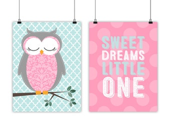 Baby Girls Owl Nursery Art, Sweet Dreams, polkadots, Little Girls room decor, pink mint nursery decor - woodland nursery - woodland theme