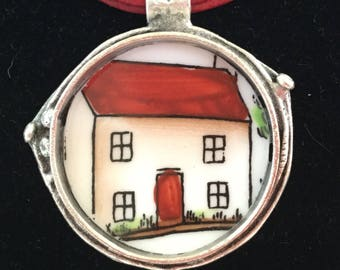 Broken China Jewelry / Home Sweet Home Pendant / farm house necklace / cottage necklace / Broken plate jewelry