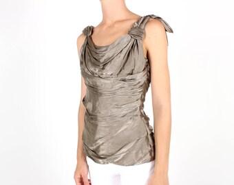 PRADA Luxe Pewter Silk Gathered + Draped Asymmetric Grecian Metallic Silver Iridescent Romantic Renaissance Top