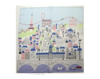 Paris france hankerchief cotton fabric, paris skyline wrapping cloth, kawaii fabric, map home decor, japanese noren scarf, furoshiki fabric