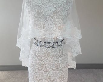 Bridal Cape Veil with Lace