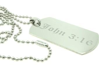 Custom Engraved John 3:16 Jesus Christ Christian Stainless Steel Dog Tag Necklace Pendant
