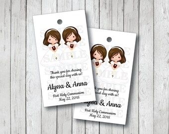 10 Twin Girl First Communion Tags, Twin Girls Communion Thank You Tags, Twin Girl Confirmation Thank You Tags