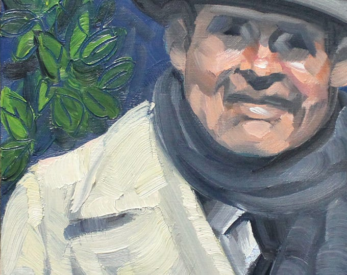 Nattily Dressed Senior Daddy, 8x10 inches oil on canvas panel