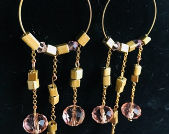 Pink and Gold - Dangle Hoop Earrings