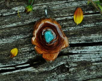 MINI Pine Cone Heart with Turquoise Stone