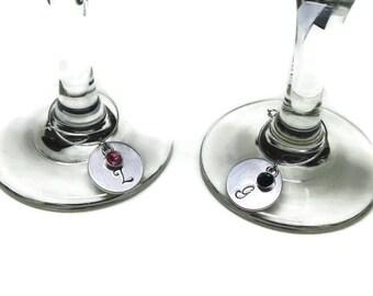 Monogram Wine Glass Charms; Letter Wine Glass Charms; Initial Wine Glass Charms; Wedding Wine Glass Charms; Custom Wine Glass Charms