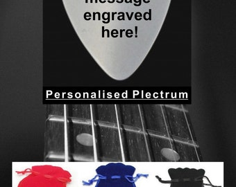 Personalised Engraved Guitar Pick Plectrum Stainless Steel + Free Gift Bag
