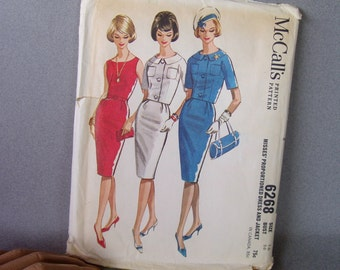 60s Wiggle Dress with Jacket / Uncut Sewing Pattern / Bust 36 / Vintage 1960s Fashion