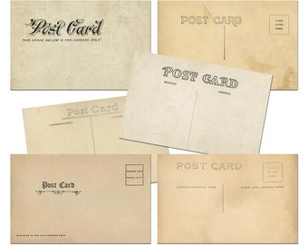 Postcard Downloads, Vintage Postcard Printing, 6-Pack of Digital Postcard Templates #1