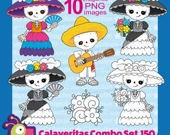 Day of the dead clipart Bundle, color and black and white, skeleton, calaveritas, Catrina, Dapper Skeleton, guitar, Día de Muertos, Set 150