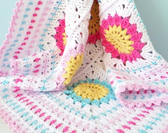 CROCHET PATTERN - Starry sun blanket pattern - Granny square baby blanket pattern, Cotton yarn baby blanket pattern, Can be made to any size