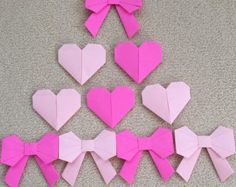 Origami Hearts and Bows