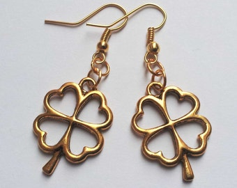Lucky Four Leaf Clover Earrings , Gold Earrings , Gold Clover Earrings , Irish Shamrock Earrings , Ireland , Good Luck , Handmade Jewelry